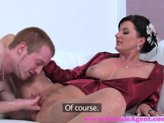 Blowjob Cumshot video: FemaleAgent. Sexy MILF agent teaches stud how to fuck