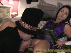 Oral Romantic video: DaneJones Sinful shaved babe summons Halloween lover to pleasure her