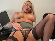 Horny blonde secretary teasing in silk and nylon and rubbing her wet clit