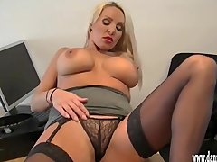 Clitrubbing Danniiharwoodnet Giantboobs video: Horny blonde secretary teasing in silk and nylon and rubbing her wet clit