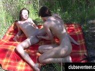 Adorable lesbians Jenny and Nela lick twats