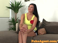 Porno video: FakeAgent Tanned model fucks for work in Casting interview