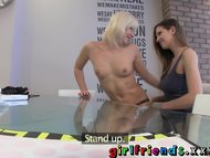 Girlfriends Blonde and brunette have hot lesbian sex on dinner table