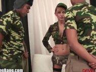 Army Babe Interracialy Gangabanged