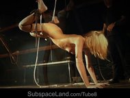 Blonde whore tied up and spanked, ass whipped and slapped