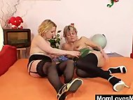 Older housewife lesbian mammas toy each other