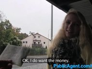 PublicAgent Young blonde taken into the woods for sex with big cock