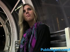 Pov Public porno: PublicAgent Hot tall babe spreads her legs for cash in public