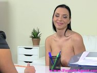 FemaleAgent. Curvaceous busty MILF gets fucked by agent with a strap on