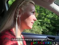 Girlfriends Hot swimsuit girl has pussy licked on car backseat