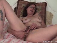 Tattooed Sylvie Masturbating Her Bushy Slit