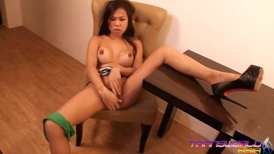 Kaycee strokes her asian shemale cock