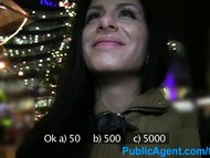 PublicAgent Long black haired sexy babe fucking outdoors