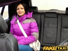 Blowjob Car Cumshot video: FakeTaxi Black haired hottie let's cabbie cum on her tits
