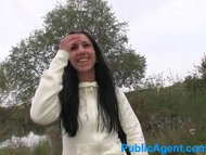 PublicAgent Long black haired babe fucks in public
