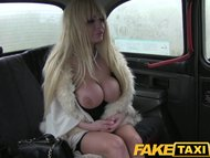 FakeTaxi Cabbie gets blowjob from big tits blonde