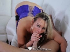 Blowjob Facial Milf video: HD PureMature - Busty milf Abbey Brooks licks ice cream and tastes cock