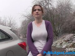 Public Cumshot Outdoors vid: PublicAgent Innocent shopper gets fucked in a car for modelling job