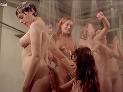 Vintage Stockings video: Dyanne Thorne Lina Romay nude scene from Ilsa the Wicked Warden