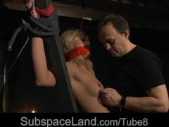 Blonde Blowjob Facial video: Kinky foreplay in bdsm game for hot blonde bitch