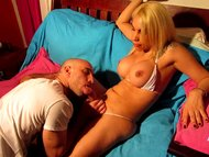 Angeles Cid fucking and sucking with Bald guy!