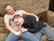 Passionate gay getting nailed on the couch