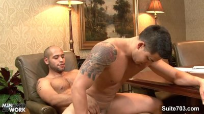 Lusty gays lick asses on the desk
