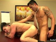 Tattooed gay workers taking their cocks
