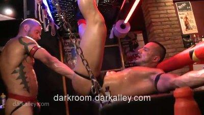 Fisting a Muscle Sling Slut