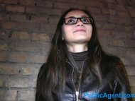 Russian babe gets fucked for cash in her glasses