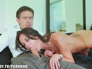 Busty brunette loves big dick