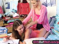 Girls Out West - Young Aussie lesbian cutie gets licked