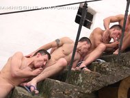 Foursome bareback fun out in the countryside - WilliamHiggins Wank Party