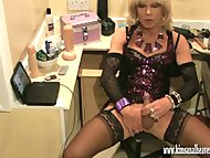 Excited blonde crossdresser fingers her ass and wanks her smooth massive dick | Porn-Update.com