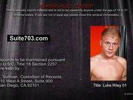 Blonde gay Luke Riley masturbating his cock