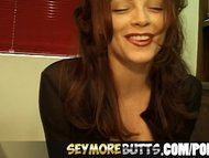 SeymoreButts Redhead beauty rides a sybian