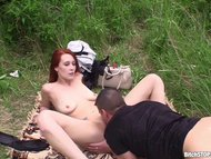 Bitch STOP - Horny redhead gets fucked in the meadow
