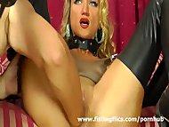 Busty blond milf enjoys a hard fisting orgasm