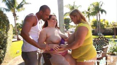 Busty BBWS In Bikinis Fuck Huge Latin Cock in the Pool
