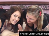 Expert cock sucker Charlee Chase shares a cock with tattoo slut Taylor Raz