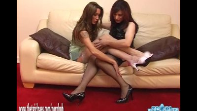 Slutty TGirl loves PVC nylons and spanking Milfs tight ass for sexy footjob