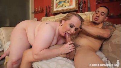 Bruno Fucks Blonde Busty BBW on the couch