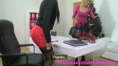 FemaleAgent Sexy lesbian Christmas casting
