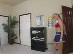 Big tited blonde cheerleader with pierced nipples blews her horny teacher