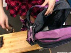 Cute innocent brunette girl enjoys getting banged by her teacher