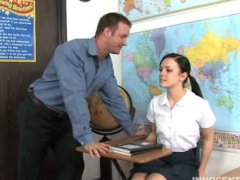 Small tit brunette girl gives her teacher a nice hard blowjob and fuck to avoid getting expelled on her school