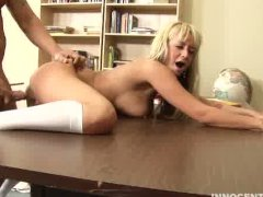 horny blonde teen getting her pussy fucked hard by her professor
