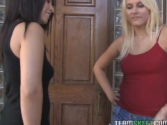 lovely chicks Abby Lane and Kati Summer kissing and sharing one cock