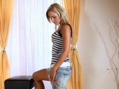 Tan Nubile Jessica Bee Strips Then Masturbates