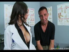 Busty Brunette Doctor sucks  swallows patient s cock for cum taste test